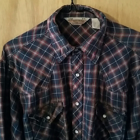 5e5f75d8 Sears Western Wear Shirts | Vtg Western Wear Mens Plaid Pearl ...